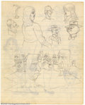 Original Comic Art:Sketches, Robert and Charles Crumb - Original Sketches (1962). Two of the infamous Crumb brothers, Robert and his brother, Charles, pu...