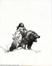 Frank Frazetta - Original Illustration, Bear-Back Rider (undated). This deadly pen and ink by the master himself, Frank...