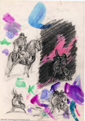 Original Comic Art:Sketches, Frank Frazetta - Original Sketches, Horses and Riders (undated). This page of preliminary sketches by Frank Frazetta is for ...