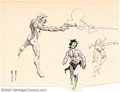 Original Comic Art:Sketches, Frank Frazetta - Original Sketches, Nudes and Caveman (undated). These small drawings by Frank Frazetta are an incredible di...