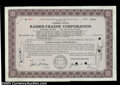 Stocks and Bonds:Certificates with Significant Autographs, Kaiser-Frazer Corporation (Nevada)