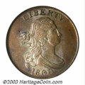 1800 1/2 C MS64 Brown NGC. B-1b, C-1, R.1. A nicely struck early copper with tinges of faded mint color in the recesses...