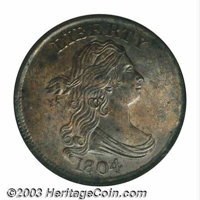 1804 1/2 C Crosslet 4, No Stems MS64 Brown NGC. B-11, C-12, R.2. The glossy, mottled brown surfaces are well struck, esp...