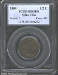 Half Cents: , 1804 1/2 C Spiked Chin MS63 Brown PCGS. B-7, C-8, R.1. ...