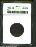 Half Cents: , 1806 1/2 C Small 6, No Stems AU55 ANACS. B-3, C-1, R.1. ...