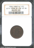 Half Cents: , 1806 1/2 C Large 6, Stems MS63 Brown NGC. B-4, C-4, R.1. ...