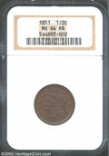 Half Cents: , 1851 1/2 C MS64 Red and Brown NGC. B-1, C-1, R.1. The ...
