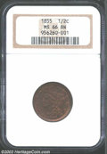 Half Cents: , 1855 1/2 C MS66 Brown NGC. B-1, C-1, R.1. Boldly struck ...