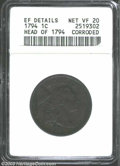 Large Cents: , 1794 1C Head of 1794--Corroded--ANACS. XF Details, Net VF20....