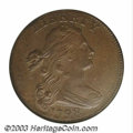 "1798 1C Second Hair Style MS62 Brown NGC. S-167, R.1. This ""Whisker Variety"" obverse is paired with a reverse..."