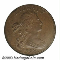 """1798 1C Second Hair Style MS62 Brown NGC. S-167, R.1. This """"Whisker Variety"""" obverse is paired with a reverse..."""