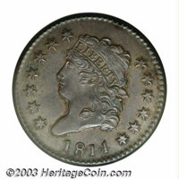 1814 1C Plain 4 MS64 Brown NGC. S-295, R.1. Classic large cents are one of the scarcest types of early copper coins to l...