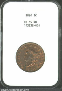 1820 1C Large Date MS65 Red and Brown NGC. N-13, R.1. The familiar Randall Hoard variety with a triple punched L in LIBE...