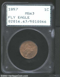 1857 1C MS63 PCGS. Well struck with nice chestnut-brown color and slightly darker mottling on each side. A rather deep p...
