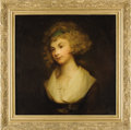 Fine Art - Painting, European:Antique  (Pre 1900), Portrait of a Lady. After George Romney. English, 18th Century. Oilon canvas. A beautiful lady wearing a green headband....