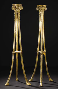 A Pair of Continental Giltwood Torchieres  Unknown maker, Continental Circa 1770-1800 Giltwood Unmarked 61 inches high...