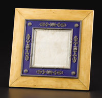 A Russian Enamel, Silver and Wood Picture Frame  Carl Peter Faberge, St. Petersburg, Russian Karl Armfelt, Workmaster