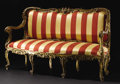 Furniture : Continental, An Italian Rococo Style Settee. Unknown maker, possibly Genoa,Italy. Nineteenth Century. Giltwood, upholstery. Unmarked. ...