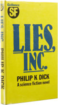 Books:First Editions, Philip K. Dick: Lies, Inc.. (London: Gollancz, 1984), firstedition, 199 pages, blue cloth with gilt lettering on spine,...