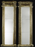 Furniture : Continental, A Pair of Italian Neoclassical Architectural Pier Mirrors. Unknownmaker, possibly Italian. Nineteenth century. Carved and... (Total:2 )