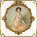 Paintings, A Seated Nude with Yellow Hibiscus. Edouard-Marie-Guillaume Dubufe (1853-1909). French, 1898. Pastel on paper laid on canv...
