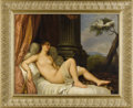 Fine Art - Painting, European:Antique  (Pre 1900), A Reclining Nude with Doves. Unknown. Continental, 19th Century.Oil on board. 36 inches x 33.2 inches (unframed). A cla...
