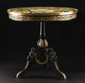 Furniture: French, A French Napoleon III Porcelain Mounted Center Table. Unknownmaker, Paris, France. Circa 1870. Ebonized wood, gilt and pa...