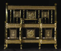 Furniture: French, A Nineteenth Century Ornate Brass Bed. Unknown maker, French.Nineteenth Century. Brass. Unmarked. 49 inches high x 54 inc...