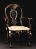 Furniture , A Chinese Export Mahogany Arm Chair. Unknown maker, Chinese. Nineteenth century. Mahogany and upholstery. Unmarked. 41.25 ...