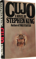 Books:First Editions, Stephen King: Cujo. (New York: Viking Press, 1981), firstedition, 319 pages, dust jacket by R. Adelson from an illustra...