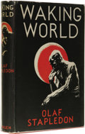 Books:First Editions, Olaf Stapledon: Waking World. (London: Methuen & Co.Ltd., 1934), first edition, 280 pages, bound in red cloth withgilt...