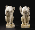 Fine Art - Sculpture, European:Antique (Pre 1900), A Pair of Carved Marble Sphinx. Italian. Late eighteenth/earlynineteenth century. Marble. 32 inches high each. Each wel...(Total: 2 )