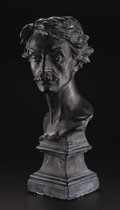 Fine Art - Sculpture, European:Antique (Pre 1900), A Bust of Jean Leon Gerome. Jean-Baptiste Carpeaux (1827-1875).French, modeled 1871. Plaster with bronzed patina on match...
