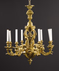 Decorative Arts, French:Lamps & Lighting, A French Regence-style Gilt Bronze Eight Light Chandelier. Unknownmaker, French. Twentieth century. Gilt bronze. Unmarked...
