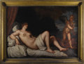 Fine Art - Painting, European:Antique  (Pre 1900), Danae. After Titian (Tiziano Vecelli) (c.1485-1576).Italian, 19th Century. Oil on canvas. With plaque: Tiziano.4...