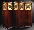 Furniture , A Russian Neoclassical Five Panel Screen. Unknown maker, Russian. Circa 1820-1850. Mahogany, painted and gilded wood, text... (Total: 5 )