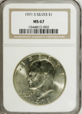 Eisenhower Dollars: , 1971-S $1 Silver MS67 NGC; 1976 Type 1 MS65 NGC.... (Total: 2 Coins)