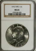 Eisenhower Dollars: , 1972 $1 Type One MS65 NGC. NGC Census: (577/20). PCGS Population (290/14). Mintage: 75,890,000. Numismedia Wsl. Price for N...