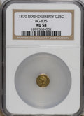 California Fractional Gold: , 1870 25C Liberty Round 25 Cents, BG-835, R.3, NG NGC. (#10696)...