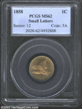 Flying Eagle Cents: , 1858 1C Small Letters MS62 PCGS. A sharply struck cent ...