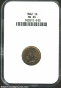 Indian Cents: , 1862 1C MS65 NGC. A boldly struck Gem with potent ...