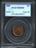 1885 1C MS65 Red PCGS. A lustrous and needle-sharp Gem that is seemingly free from even the faintest abrasion. The field...