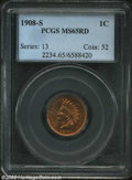 Indian Cents: , 1908-S 1C MS65 Red PCGS. This key date features satiny ...