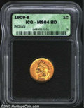 Indian Cents: , 1909-S 1C MS64 Red ICG. A lustrous near-Gem with lovely ...