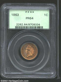 1863 1C PR64 PCGS. Forcefully struck with interesting coloring that presents, at first glance, a nearly cameo effect. A...