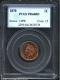 Proof Indian Cents: , 1870 1C PR64 Red PCGS. Well struck and virtually mark-...