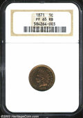 Proof Indian Cents: , 1871 1C PR65 Red and Brown NGC. Well-struck with ...