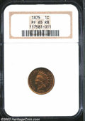 "Proof Indian Cents: , 1875 1C PR65 Red and Brown NGC. Snow-2, ""Scarce."" The ..."