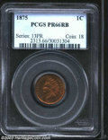 Proof Indian Cents: , 1875 1C PR66 Red and Brown PCGS. A needle-sharp Gem ...