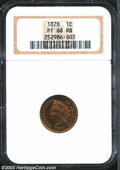Proof Indian Cents: , 1878 1C PR66 Red and Brown NGC. Flashy, lustrous, and ...